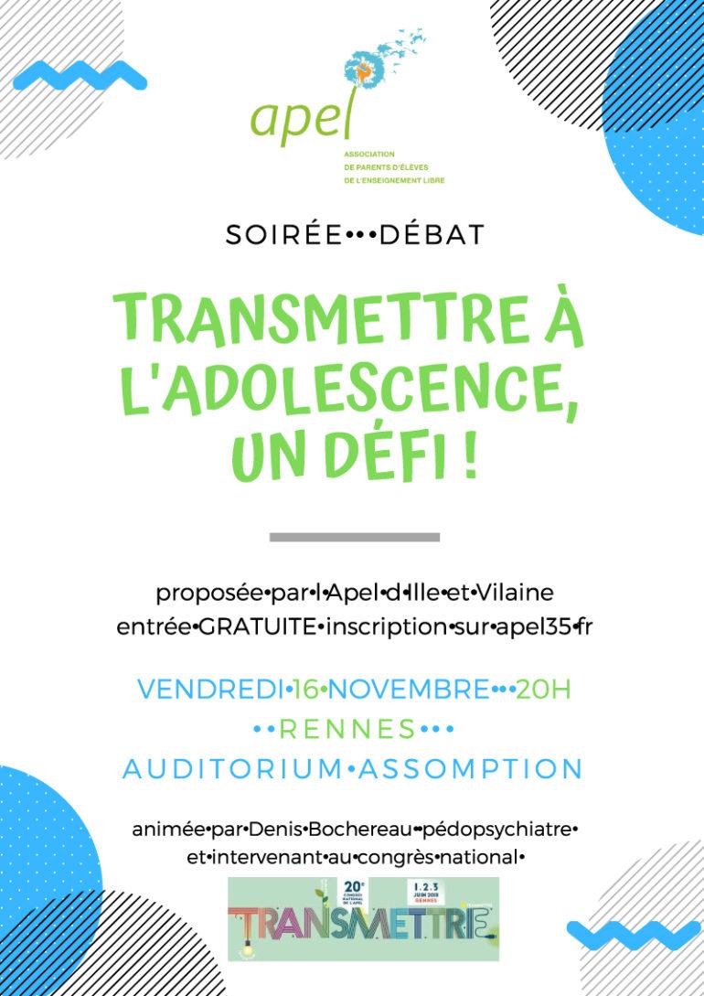 TRANSMETTRE À L'ADOLESCENCE, UN DÉFI : Inscrivez-vous !